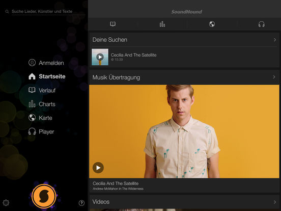SoundHound Musikerkennung und Player Screenshot
