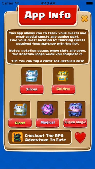 Chest Tracker for Clash Royale - Easy Rotation Calculator Screenshot