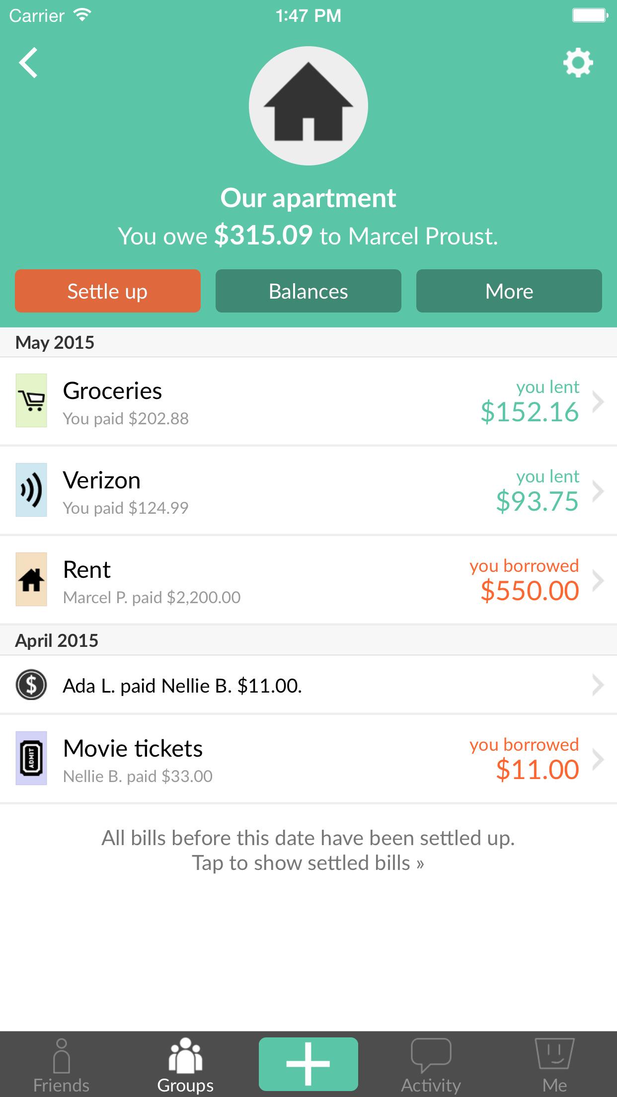 Splitwise - Split bills and expenses the easy way Screenshot