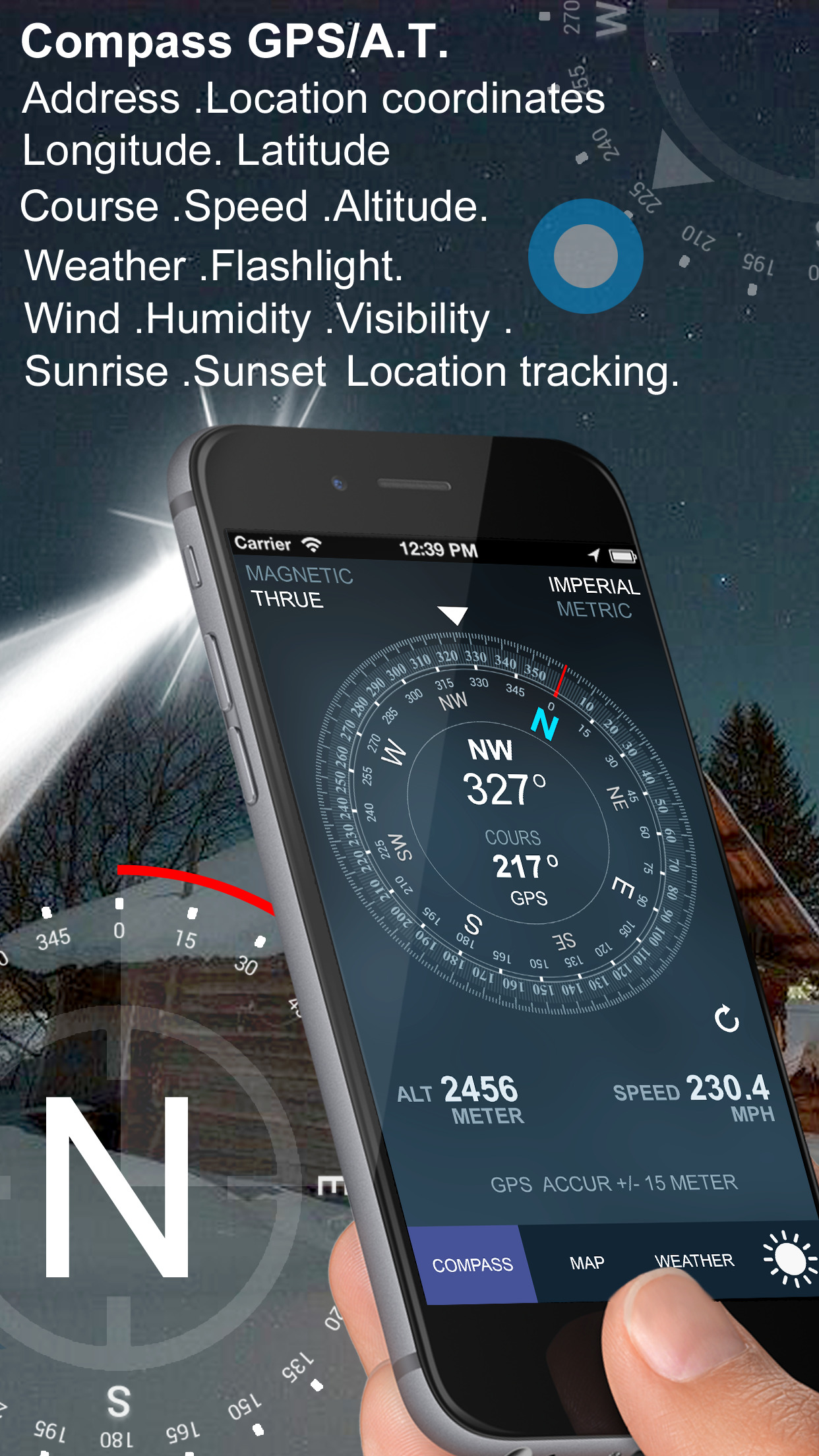 Compass GPS/A.T(Weather,Map,Speedometer,Altimeter) Screenshot