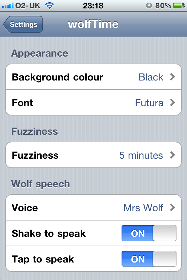 wolfTime – a wolfish talking fuzzy clock Screenshot