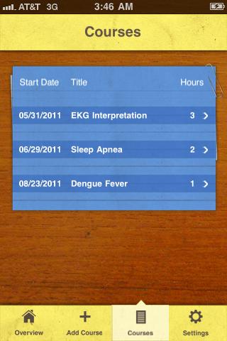 Continuing Education Tracker Screenshot