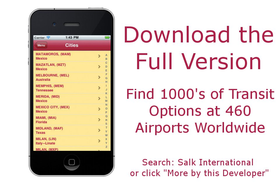 AIRPORT TRANSIT GUIDE LITE by Salk International Screenshot