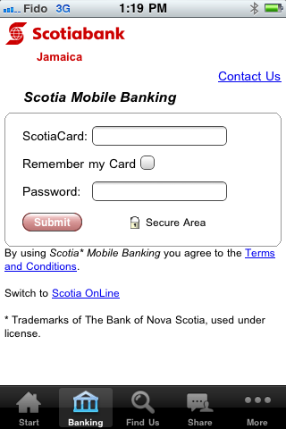 Scotiabank Caribbean – access to Scotia Mobile Banking and