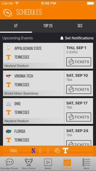 Tennessee Volunteers Gameday Screenshot