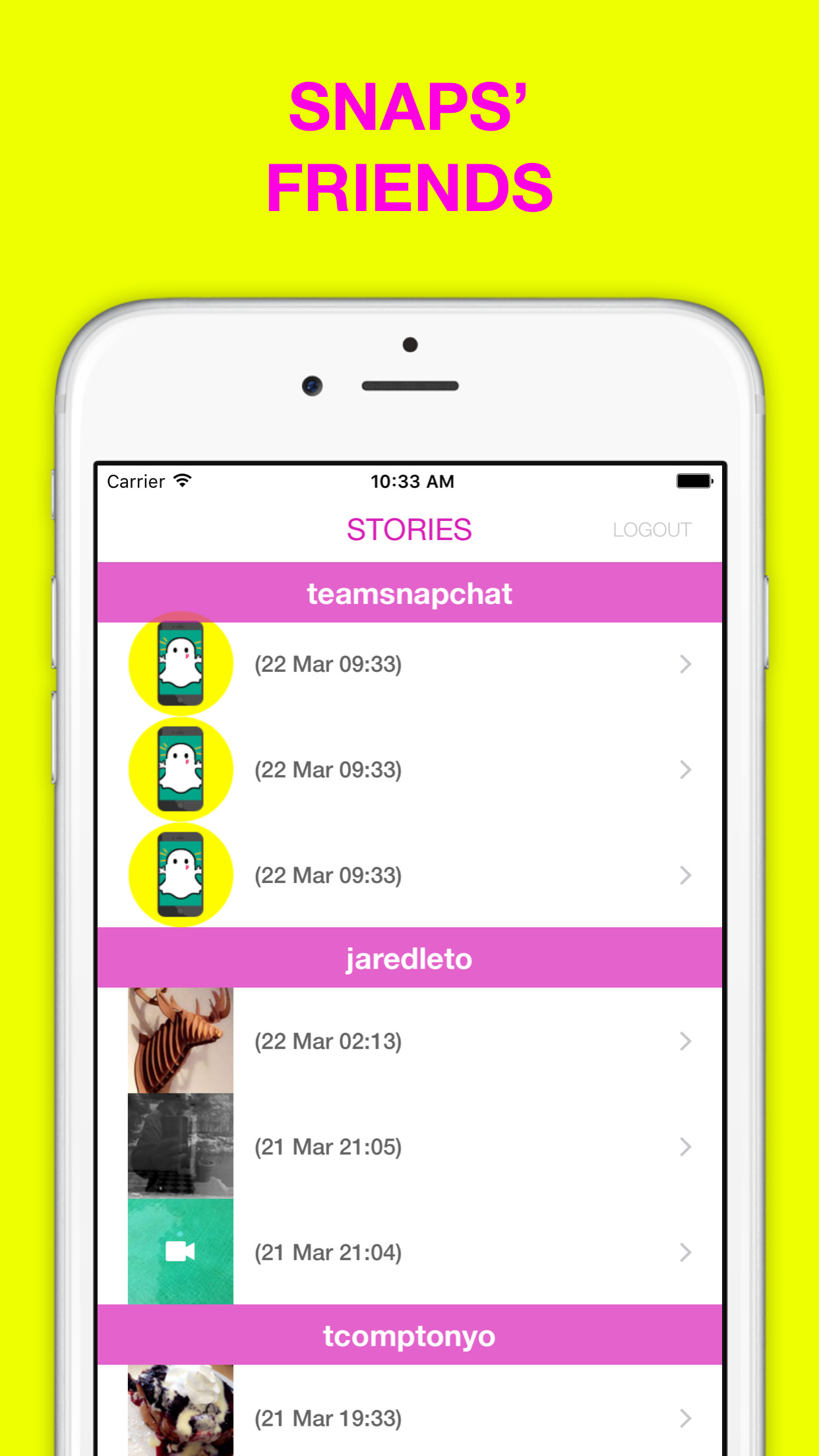 Stories and conversations for Snapchat Screenshot