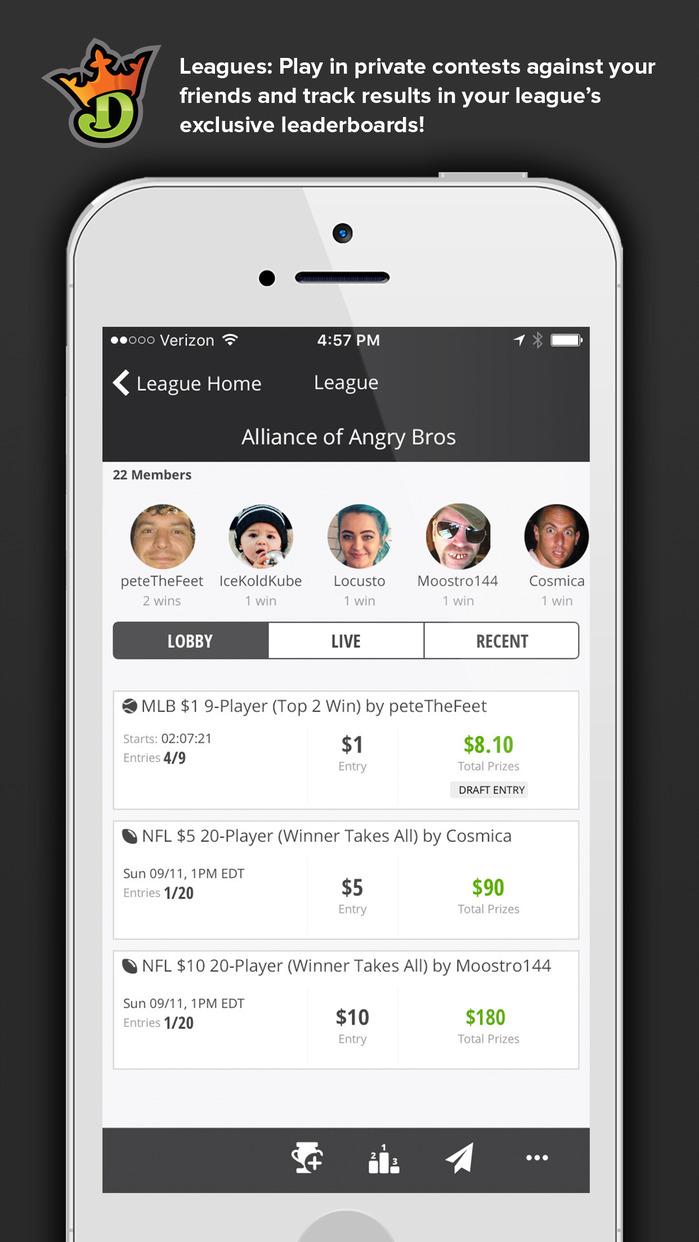 DraftKings: Daily Fantasy Football, Baseball, Golf Screenshot