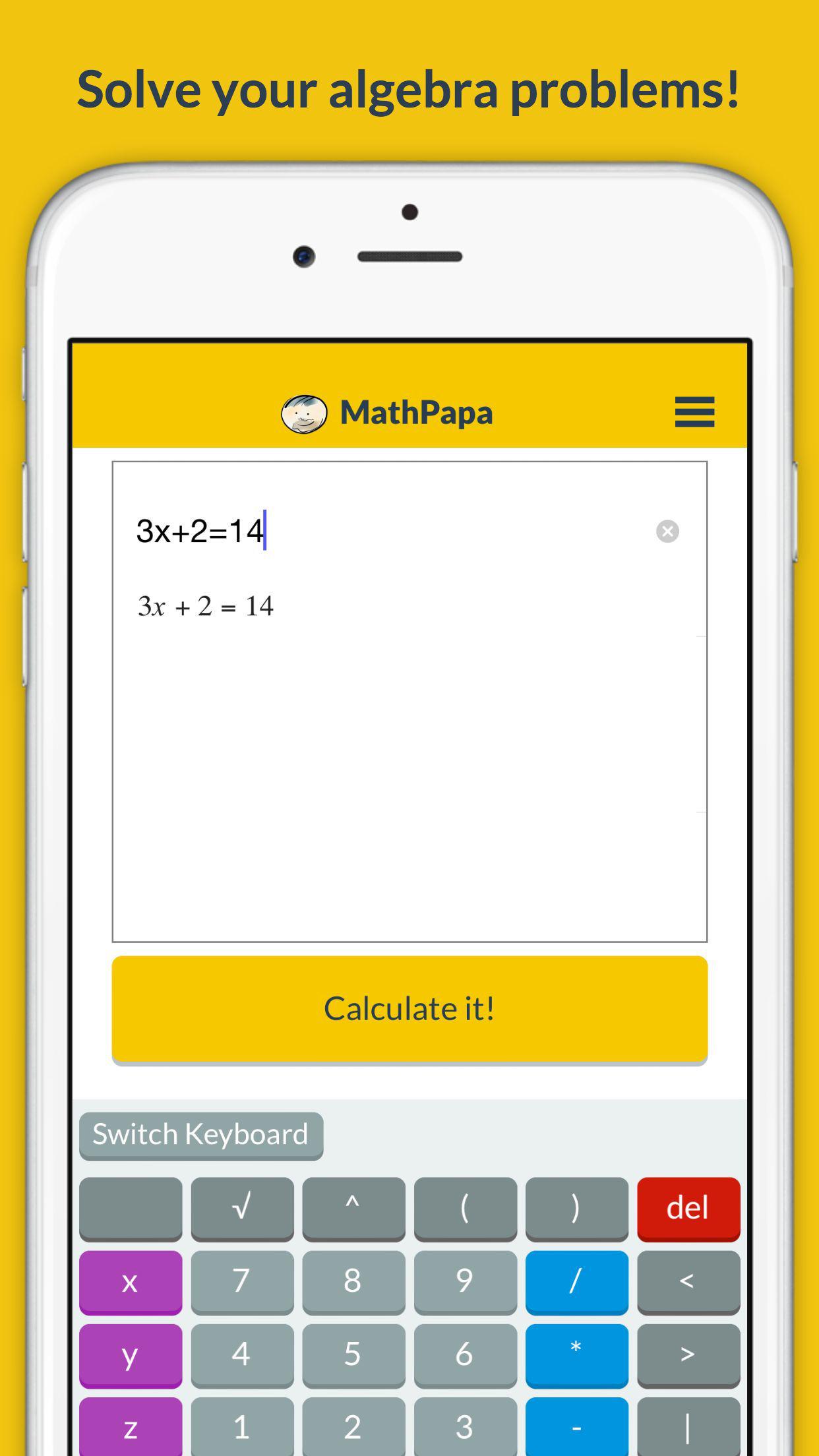 MathPapa - Algebra Calculator & Equation Solver App Screenshot