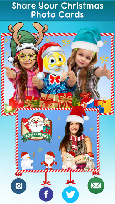 santa clause photo editor merry christmas stickers meme booth for xmas pics screenshot on