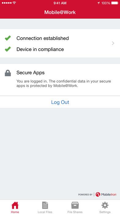 MobileIron Mobile@Work™ Client Screenshot