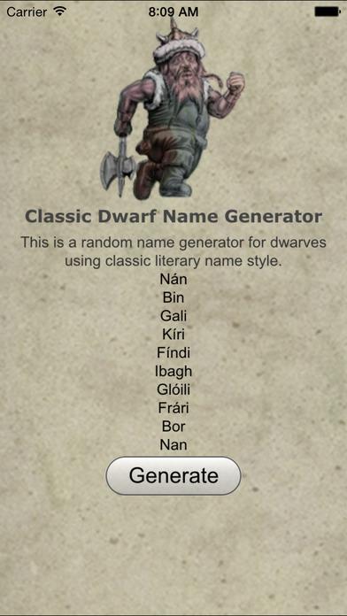 Dwarf Name Gen Classic Screenshot on iOS