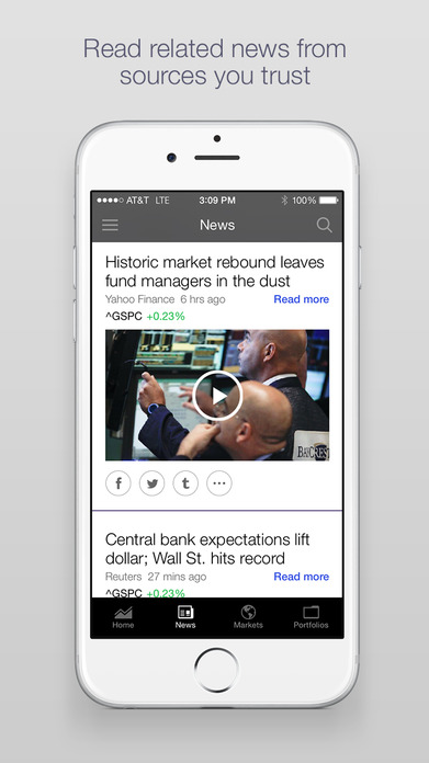 Yahoo Finance - Real time stocks, market quotes, business and financial news, portfolio and alerts Screenshot