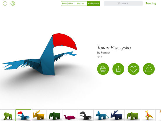 Foldify Zoo - Create, Print and Fold Paper Animals Screenshot